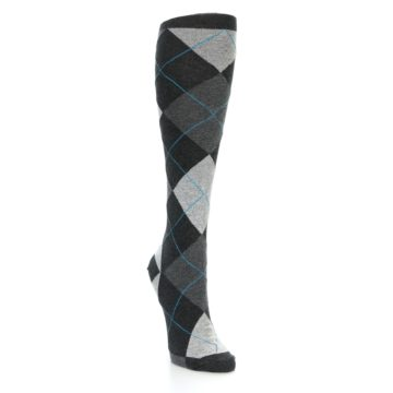 Image of Charcoal Grey Argyle Women's Knee High Socks (side-1-front-02)