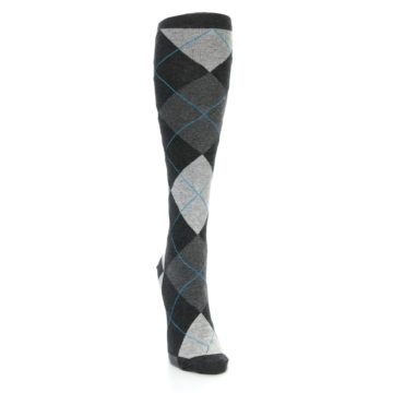 Image of Charcoal Grey Argyle Women's Knee High Socks (side-1-front-03)