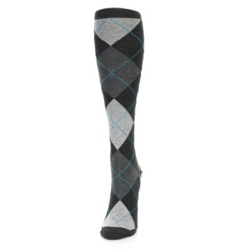 Image of Charcoal Grey Argyle Women's Knee High Socks (side-2-front-06)