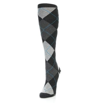 Image of Charcoal Grey Argyle Women's Knee High Socks (side-2-front-07)