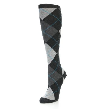 Image of Charcoal Grey Argyle Women's Knee High Socks (side-2-front-08)