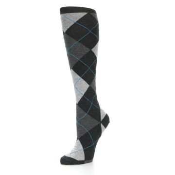 Image of Charcoal Grey Argyle Women's Knee High Socks (side-2-09)