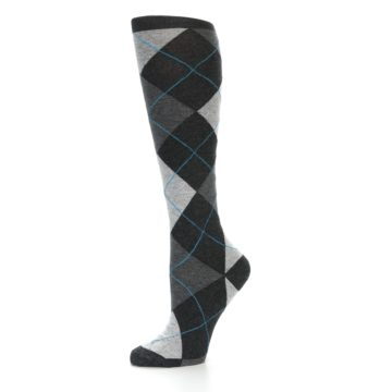 Image of Charcoal Grey Argyle Women's Knee High Socks (side-2-10)