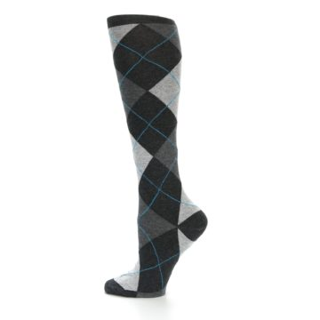 Image of Charcoal Grey Argyle Women's Knee High Socks (side-2-12)