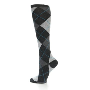 Image of Charcoal Grey Argyle Women's Knee High Socks (side-2-13)