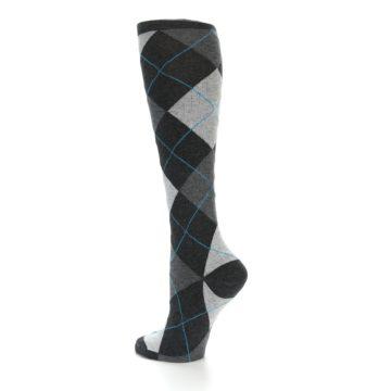 Image of Charcoal Grey Argyle Women's Knee High Socks (side-2-back-14)