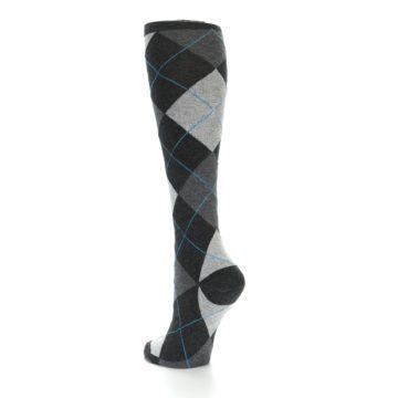 Image of Charcoal Grey Argyle Women's Knee High Socks (side-2-back-15)