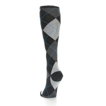 Image of Charcoal Grey Argyle Women's Knee High Socks (side-2-back-16)