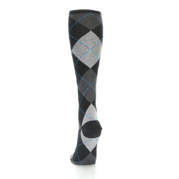 Image of Charcoal Grey Argyle Women's Knee High Socks (back-17)