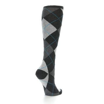Image of Charcoal Grey Argyle Women's Knee High Socks (side-1-back-22)