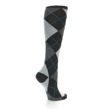 Image of Charcoal Grey Argyle Women's Knee High Socks (side-1-23)