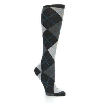 Image of Charcoal Grey Argyle Women's Knee High Socks (side-1-26)