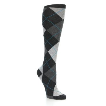 Image of Charcoal Grey Argyle Women's Knee High Socks (side-1-27)