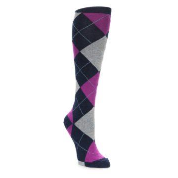 Argyle Women's Knee High Socks Pink Navy