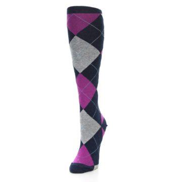 Image of Navy Fuchsia Pink Grey Argyle Women's Knee High Socks (side-2-front-07)