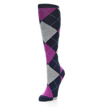Image of Navy Fuchsia Pink Grey Argyle Women's Knee High Socks (side-2-front-08)