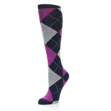 Image of Navy Fuchsia Pink Grey Argyle Women's Knee High Socks (side-2-09)