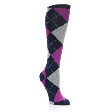 Image of Navy Fuchsia Pink Grey Argyle Women's Knee High Socks (side-1-27)