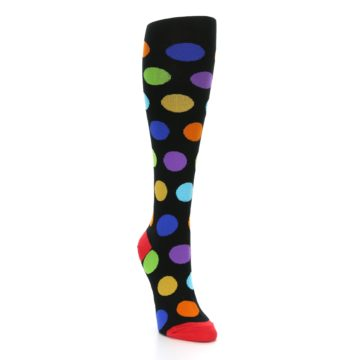 Image of Black Multi Color Dots Women's Knee High Socks (side-1-front-02)