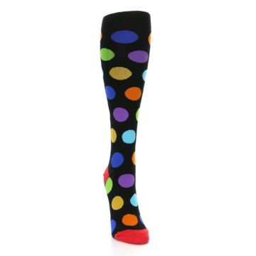 Image of Black Multi Color Dots Women's Knee High Socks (side-1-front-03)