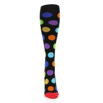 Image of Black Multi Color Dots Women's Knee High Socks (front-04)