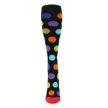 Image of Black Multi Color Dots Women's Knee High Socks (front-05)