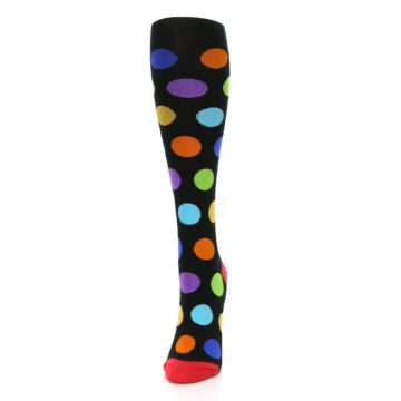 Image of Black Multi Color Dots Women's Knee High Socks (side-2-front-06)