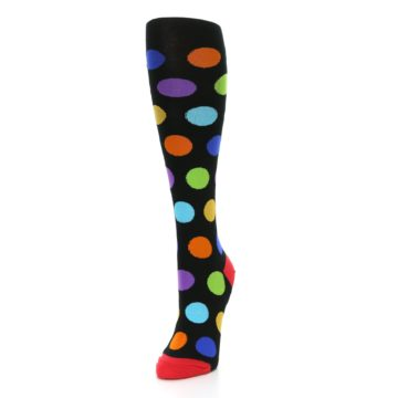 Image of Black Multi Color Dots Women's Knee High Socks (side-2-front-07)
