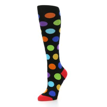 Image of Black Multi Color Dots Women's Knee High Socks (side-2-09)