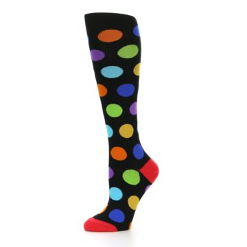 Image of Black Multi Color Dots Women's Knee High Socks (side-2-10)