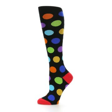Image of Black Multi Color Dots Women's Knee High Socks (side-2-11)