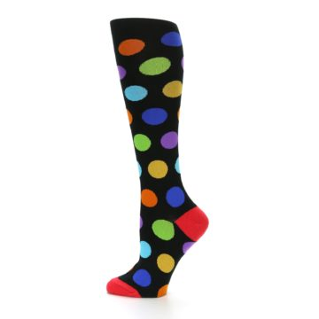 Image of Black Multi Color Dots Women's Knee High Socks (side-2-12)