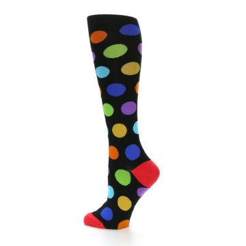 Image of Black Multi Color Dots Women's Knee High Socks (side-2-13)
