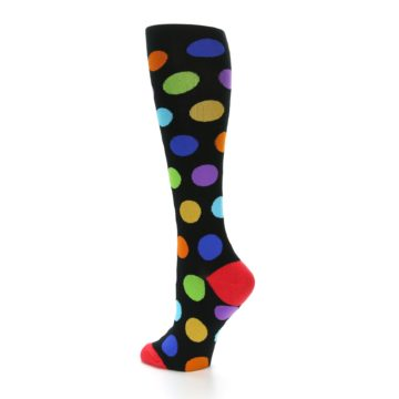 Image of Black Multi Color Dots Women's Knee High Socks (side-2-back-14)