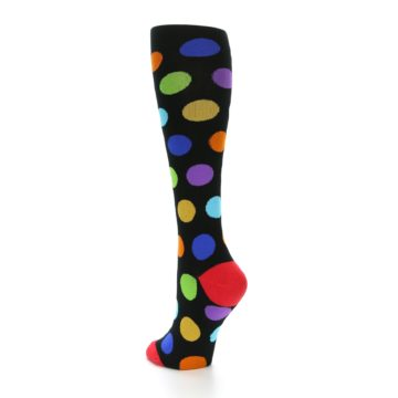 Image of Black Multi Color Dots Women's Knee High Socks (side-2-back-15)