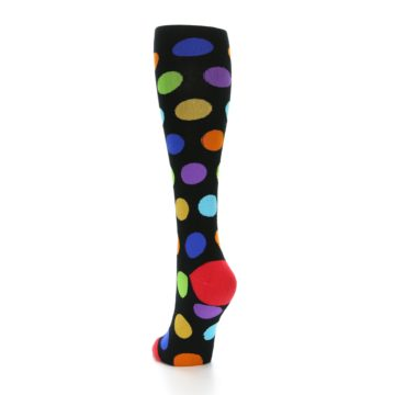 Image of Black Multi Color Dots Women's Knee High Socks (side-2-back-16)