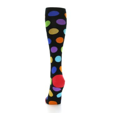 Image of Black Multi Color Dots Women's Knee High Socks (back-17)
