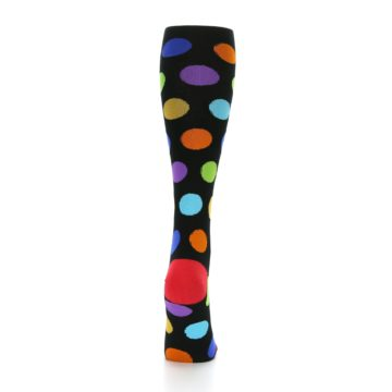 Image of Black Multi Color Dots Women's Knee High Socks (back-19)
