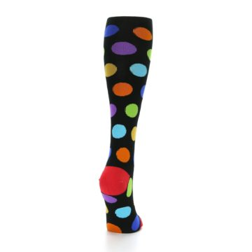 Image of Black Multi Color Dots Women's Knee High Socks (side-1-back-20)