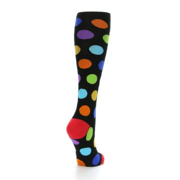 Image of Black Multi Color Dots Women's Knee High Socks (side-1-back-21)