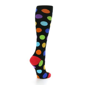 Image of Black Multi Color Dots Women's Knee High Socks (side-1-back-22)