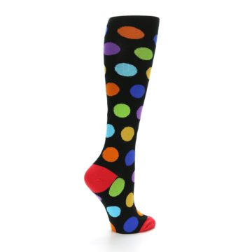 Image of Black Multi Color Dots Women's Knee High Socks (side-1-23)