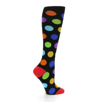 Image of Black Multi Color Dots Women's Knee High Socks (side-1-24)