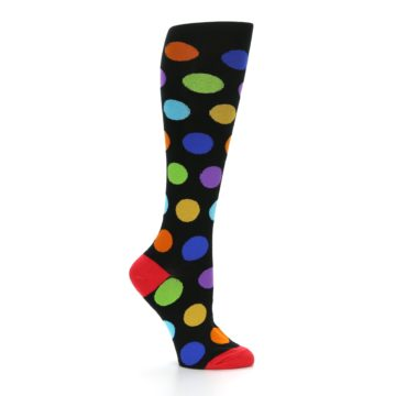 Image of Black Multi Color Dots Women's Knee High Socks (side-1-25)