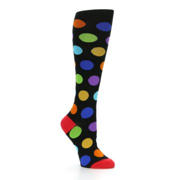 Image of Black Multi Color Dots Women's Knee High Socks (side-1-26)