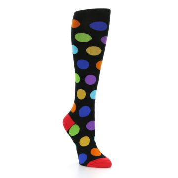 Image of Black Multi Color Dots Women's Knee High Socks (side-1-27)