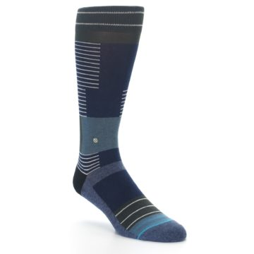 Image of Navy Block Stripe Men's Dress Socks (side-1-front-02)