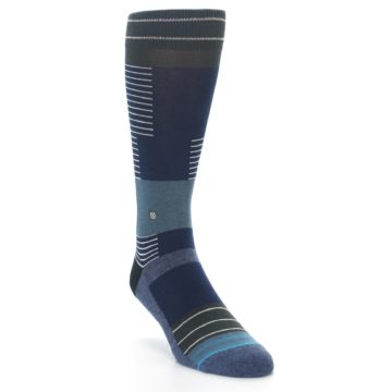 Image of Navy Block Stripe Men's Dress Socks (side-1-front-03)