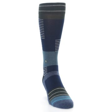 Image of Navy Block Stripe Men's Dress Socks (front-04)