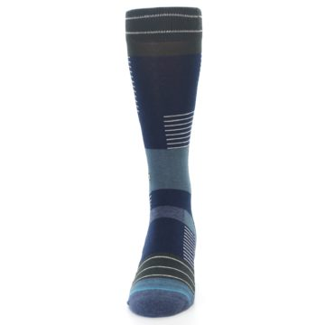 Image of Navy Block Stripe Men's Dress Socks (side-2-front-06)
